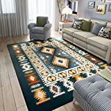 MAXYOYO Mediterranean Style Square Carpet for Living Room,Ultra Soft Short Flannel Dark Blue Large Area Rug