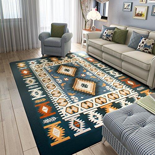 n Style Square Carpet for Living Room,Ultra Soft Short Flannel Dark Blue Large Area Rug (Mediterranean Style Furniture)
