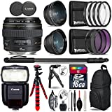 Canon EF 85mm f/1.8 USM Lens + Speedlite 430EX III-RT Flash + 0.43X Wide Angle Lens + 2.2x Telephoto Lens + UV-CPL-FLD Filters + Macro Filter Kit + 72 Monopod + Tripod - International Version