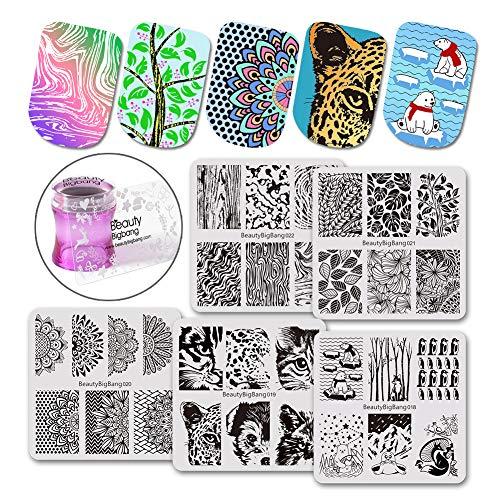 BEAUTYBIGBANG Nail Stamping Kit with Scraper stamper and plates Set - 5pcs Nail Art Stamp Square Templates Image Plate with 1 Stamper and 1 Scraper by Salon Designs