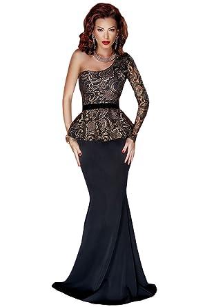8f57c995a7e Black One Shoulder Gold Floral Lace Peplum Top Long Skirt Formal Dress Size  8-10  Amazon.co.uk  Clothing
