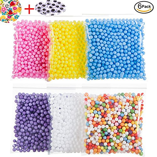 Funballs Big Foam Beads for Floam Slime, Styrofoam Balls with Fruit Splice and Googly Eyes for Kid's DIY Craft Supplies, Crunchy Slime and Home Decor, 0.2-0.3 Inch Beads, 6 Pack (Rainbow Foam)