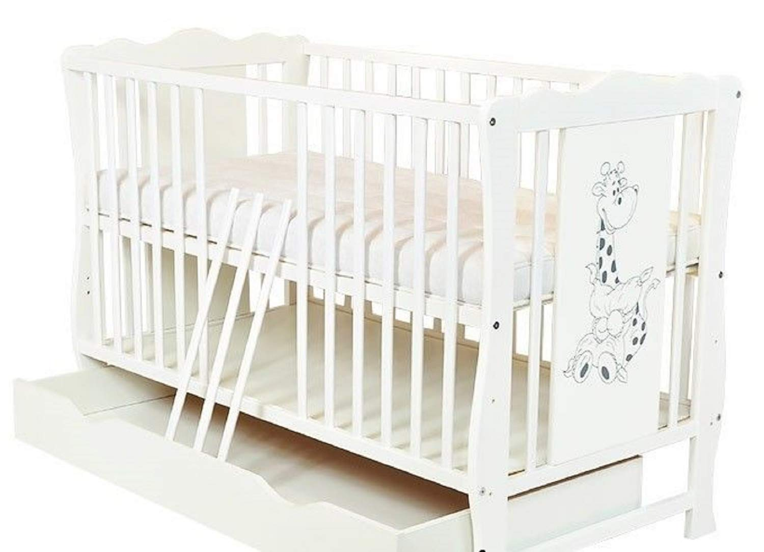 Baby Cot Bed with Drawer Toddler Cot `Diana` Optional Deluxe Danpol Mattress