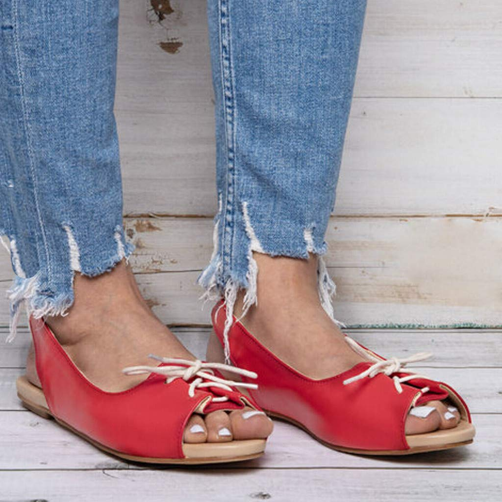Thenxin Summer Women Flat Sandals Lace Up Casual Open Toe Beach Roman Shoes (Red,6 US) by Thenxin (Image #3)