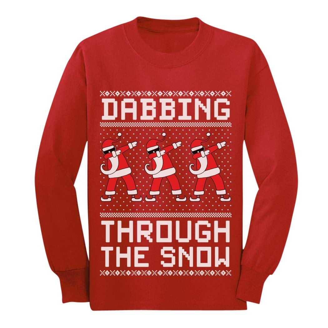 Dabbing Through The Snow Santa Christmas Dab Youth Kids Long Sleeve T-Shirt G0hPltlgCm