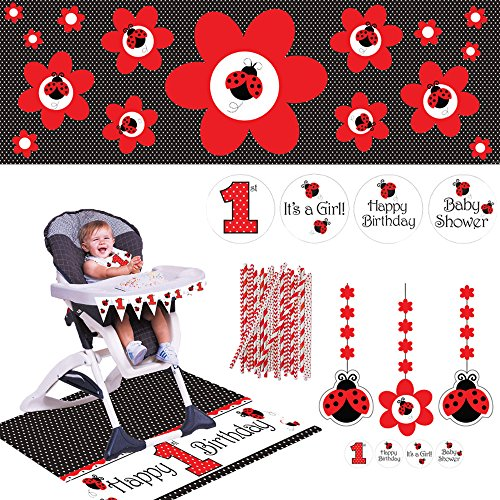 Ladybug Party Banner (Ladybug Fancy Party Supplies Pack: Includes Straws, High Chair Decorating Kit, Hanging Decorations, and Pennant Banner)