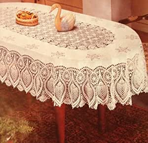 Amazon Com Luxury Crochet Vinyl Super Lace Tablecloth