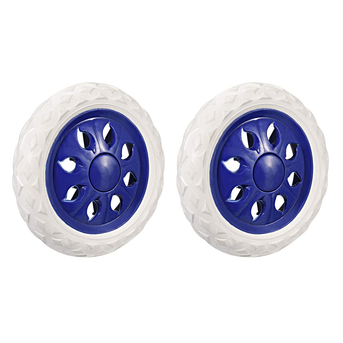uxcell Shopping Cart Wheels Trolley Caster Replacement 6.5 Inch Dia Rubber Foaming Blue 2pcs