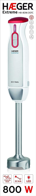 HAEGER Extreme - Batidora de Mano de 800W,lámina de 5,4 cm de Alto Rendimiento en Titanio, pie en Acero Inoxidable de 22.5 cm, 2 Interruptores de Velocidad ...