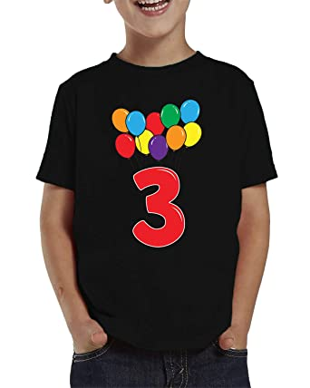 SpiritForged Apparel 3 Year Old Birthday Balloons Toddler T Shirt Black 2T