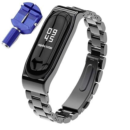 XIHAMA Bracelet de Rechange pour Xiaomi Mi Band 3 / Mi Band 4, Acier Inoxydable Métal Remplacement Montre Bracelet