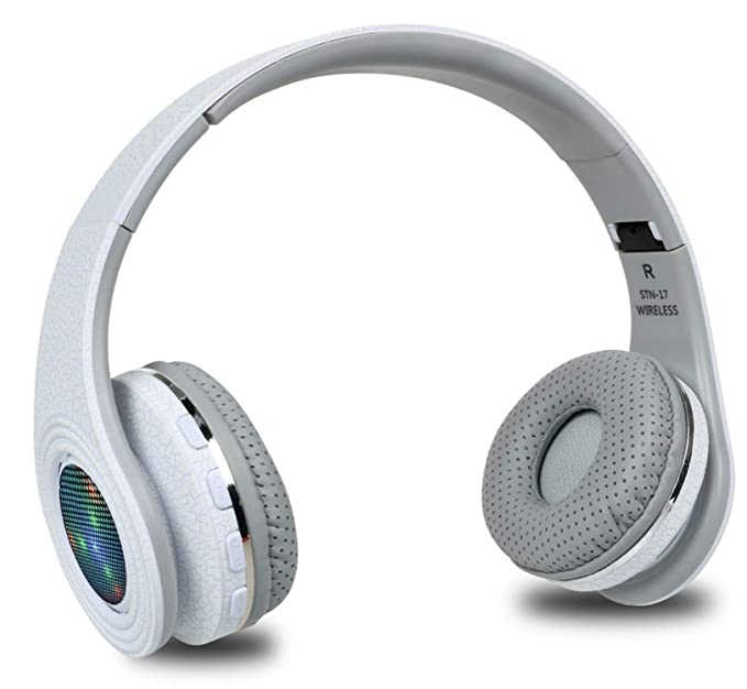 Casque Auriculares Bluetooth Headset Glowing LED Head Phone Computer Cordless Wireless Mic,White