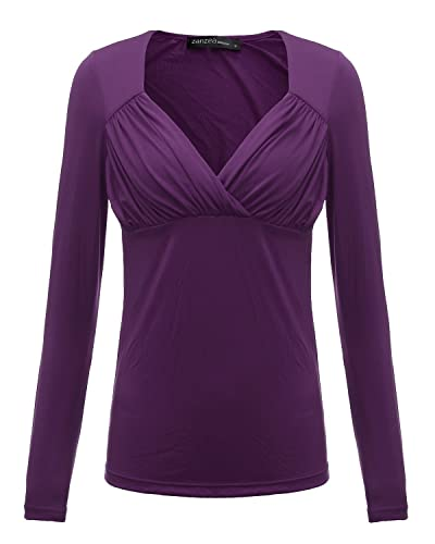 ZANZEA Mujer Blusa Camiseta de Chiffón Gasa de Moda con Escote Rruzado Mangas Largas morado EU 48