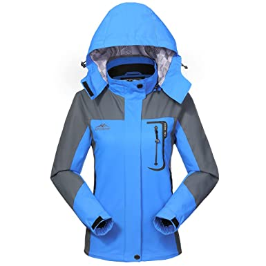 4ae56d9ff Waterproof Jacket Rain Coats for Women Outdoor Hooded Softshell Camping  Hiking Mountaineer Travel Windproof Jackets Blue