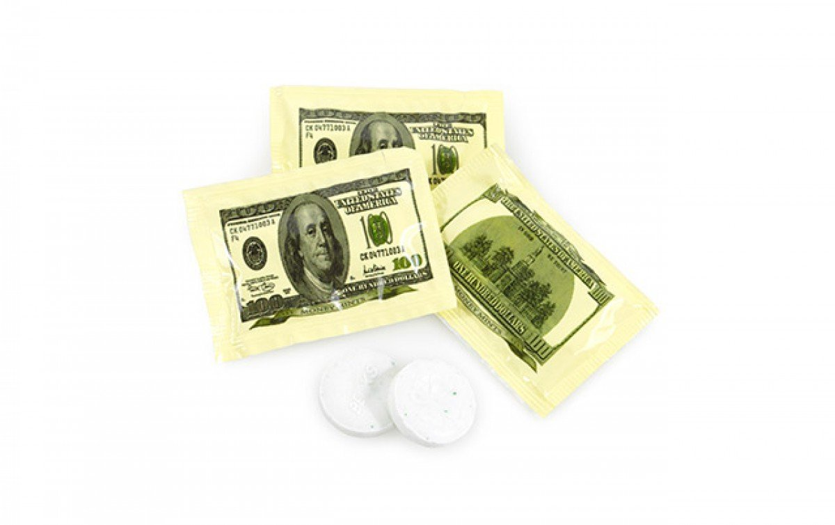 Money Mints - 100 Pack, 2 Mints Per Pack - Spearmint Flavored, Individually Wrapped