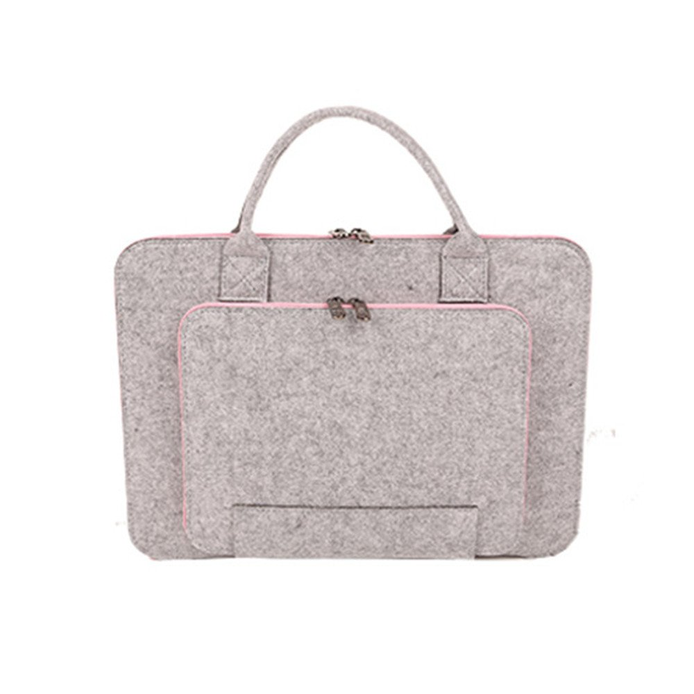 Laptop Sleeve 13 Inch Felt Laptop Case Bag with Handle Portable Carrying Bag Pouch for Asus/Acer/Dell/Toshiba, Grey & Light Bule Ruesious