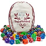 polyhedral dice pack, 140pc Bag Of Holding rpg tabletop polyhedral dice assorted