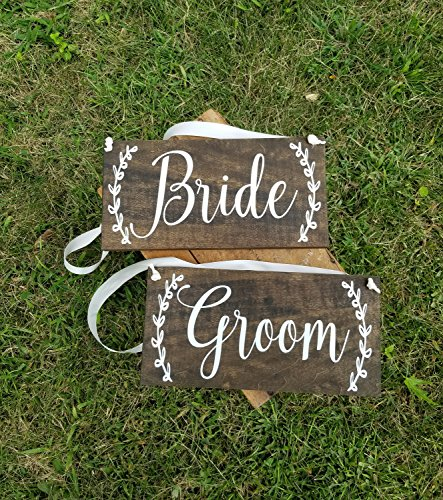 Wood Sign Bride and Groom Chair Signs Reception Decor Wedding Table Decor Photo Prop -