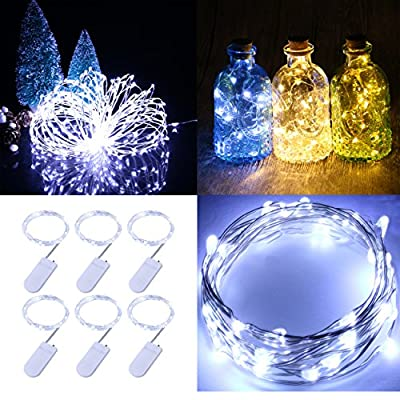 Pack of 6 sets LED Moon Lights 20 Micro Starry LEDs on 3.5 Ft Silver Ultra Thin String Copper Wire, 2 x CR2032 Batteries Included, Ideal for DIY Wedding Centerpiece or Table Decorations (Warm White)