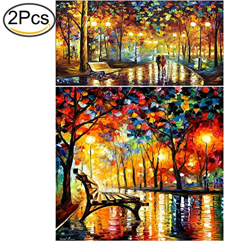 Standie 2 Pack 5D DIY Diamond Painting Set 5D Full Drill Embroidery Rhinestone Painting Kit 5D Decorating Wall Stickers for Living Room (50 x 42cm Rainy Night & 40 x 30cm Walking in The Rainy Night)