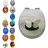 Siège de toilette rond, large choix de sièges de toilette belle, anti-bactérien, facile propre et forte charnières, couvercle de la housse de toilette pour salle de bain familiale
