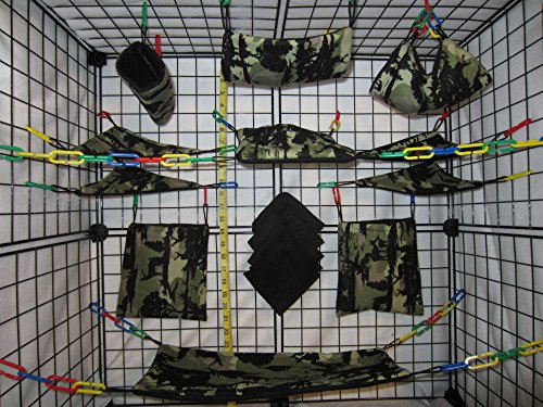 15 Piece Sugar Glider Cage Set 'Forrest Camo' Pattern (Sugar Glider Bedding)