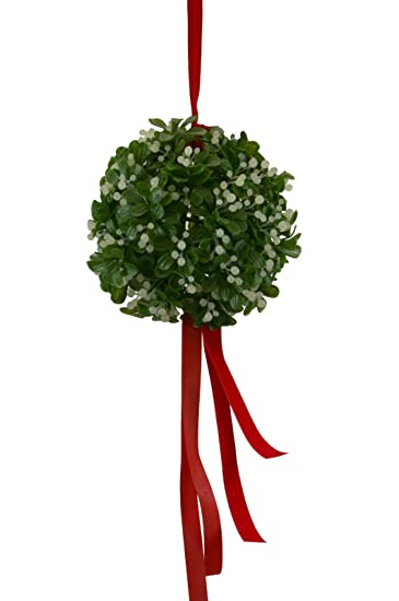 christmas mistletoe ball with red ribbon