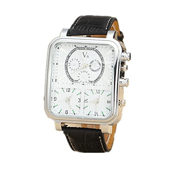 Men S Triple Movement Watches Silver Square Dial Black Leather Band