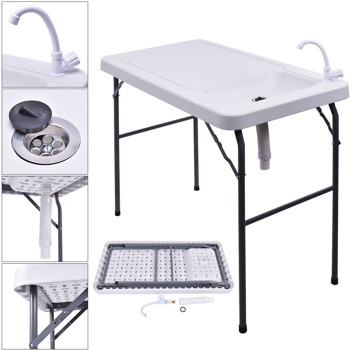 Globe House Products GHP 200-Lbs Capacity HDPE 45''x23.6''x37.4'' Folding Fish Cleaning Table Sink Faucet
