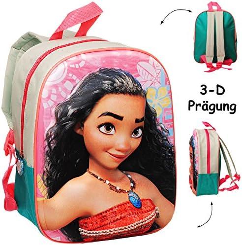 alles-meine.de GmbH 3-D Präge - Effekt _ Kinder Rucksack - Disney - Vaiana - Tasche - beschichtet & wasserfest - Kinderrucksack / groß Kind - Mädchen - z.B. für Kindergarten ..