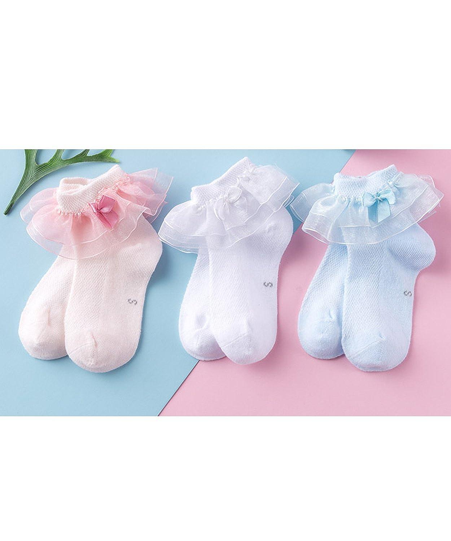 Little Kids Girls Double Ruffle Orgen Lace Cotton Socks Dress Princess Style