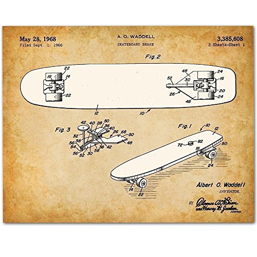 Skateboard Art - 11x14 Unframed Patent Print - Great Gift for Skateboarders or Boy's Room Decor