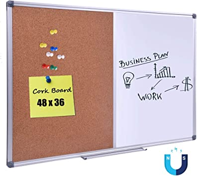 Amazon Com Dexboard 48 X 36 Inch Magnetic Dry Erase Cork Combo Board Wall Mounted Whiteboard Corkboard Combination With Aluminum Frame Office Products