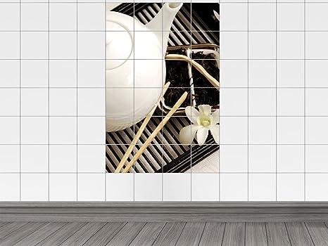 Piastrelle adesivo piastrelle immagine teiera su arte asiatica con