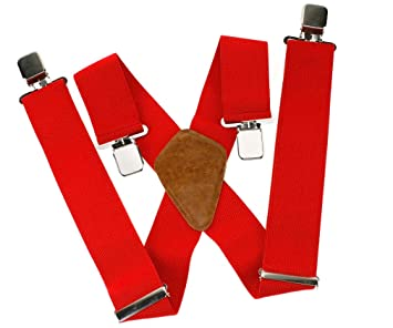 large choix de designs livraison gratuite ramasser Bretelles X réglable pour Homme avec clips en métal durable ROUGE  élastiques Large 50mm