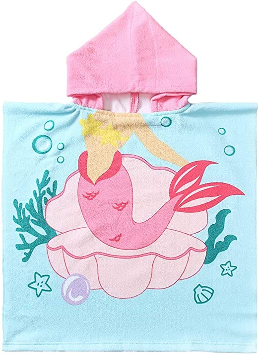 Kids Beach Towels Wrap,Hooded Beach Towel for Boys Girls,Poncho Cape Soft Absorbent Baby Swim Bath Pool Cover Up for 2-7 Years Large Size 24x 48