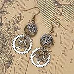 Hi-Unique UINKE Vintage Bronze Steampunk Cogwheel Wristwatch Gear Earrings Goth Punk Dangle Earrings Jewerly 8