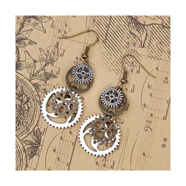 Hi-Unique UINKE Vintage Bronze Steampunk Cogwheel Wristwatch Gear Earrings Goth Punk Dangle Earrings Jewerly 5