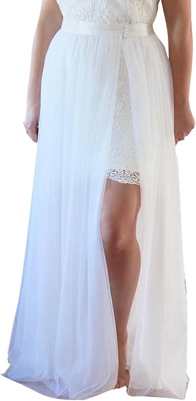 Women Wedding Detachable Tulle Overskirt Bridal Ivory Dress Cover Tutu Spilt Skirt At Amazon Women S Clothing Store