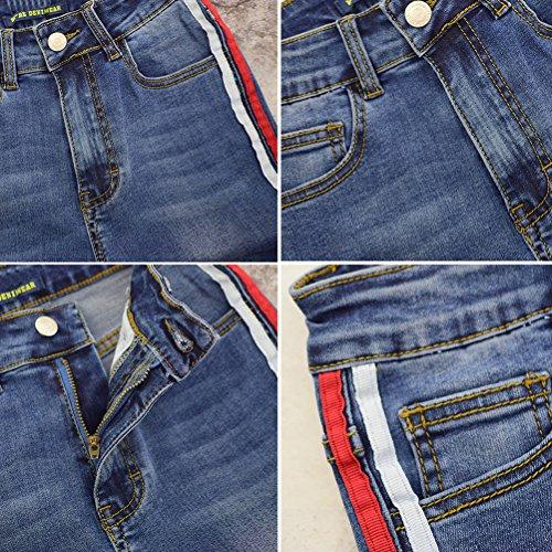 Signore Svasata Alta Allungare Dimagrante Splicing A I Blu Denim Tessitura Jeans Vita Pantaloni Doppio Per Colore Le Zhhlaixing Forma TvwX66