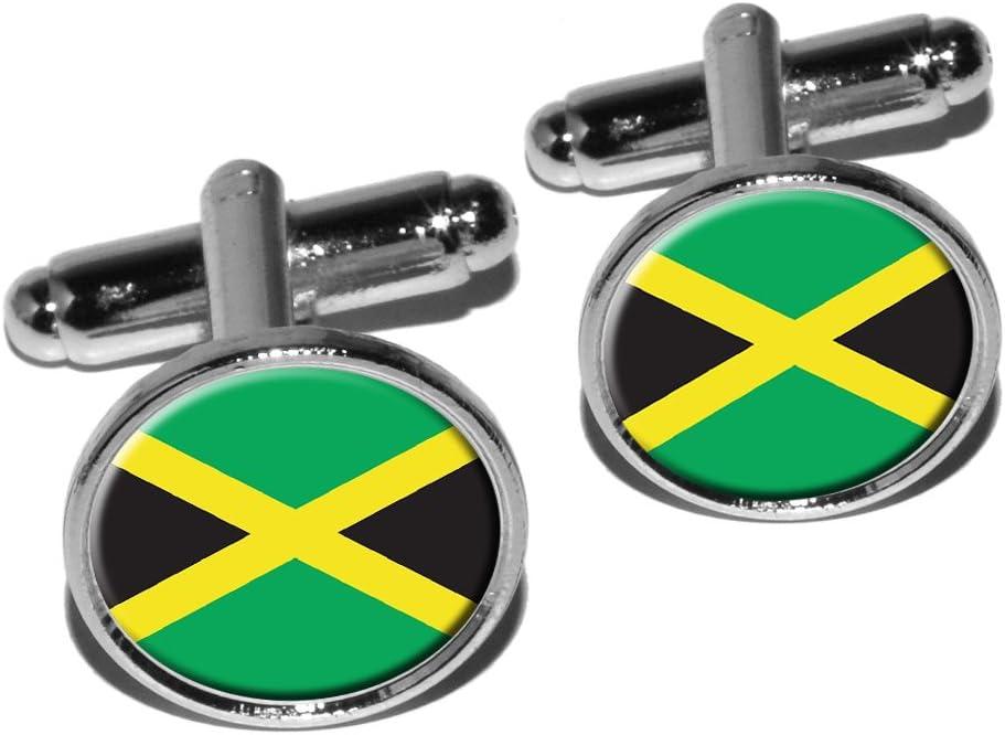 Jamaica Jamaican Flag Round Cufflink Set - Silver