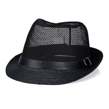 476789b0598 Raylans Mens Womens Summer Cool Mesh Fedora Hat Short Brim Sun Cap For Men  Black 56