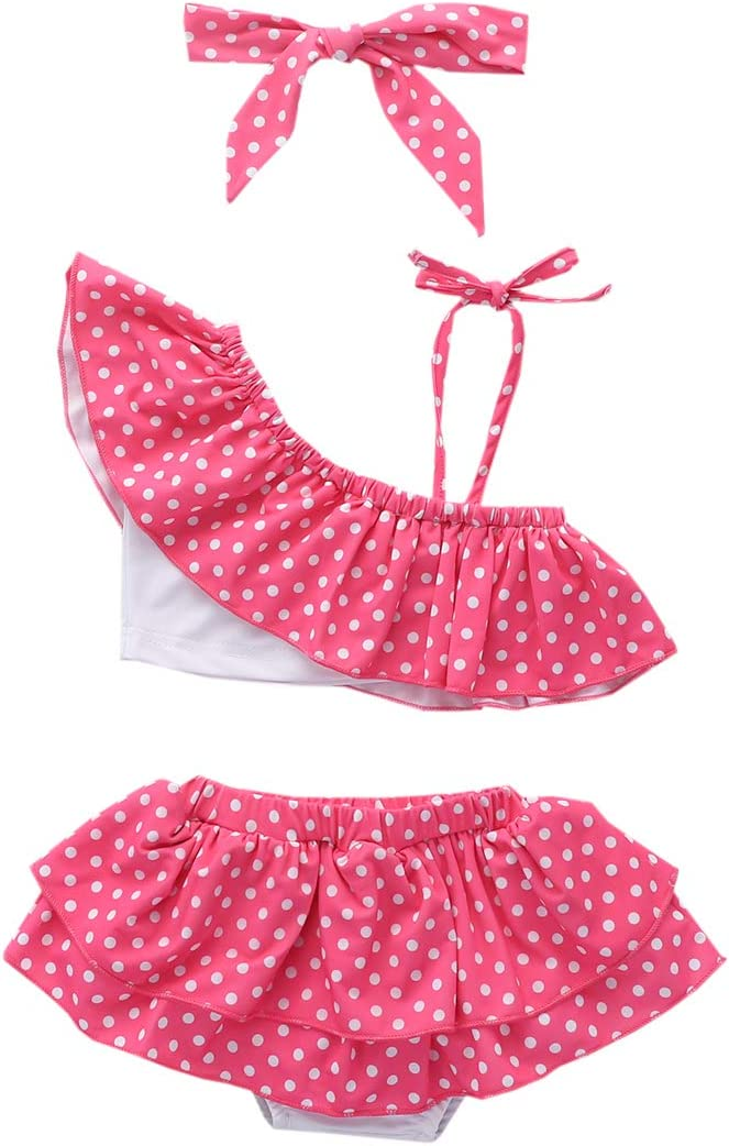 ملابس سباحة للبنات الرضع بكتف واحد بكشكشة ومنقط باللون الوردي وتنورة بكينيات مع عصابة رأس ملابس سباحة من قطعتين للشاطئ