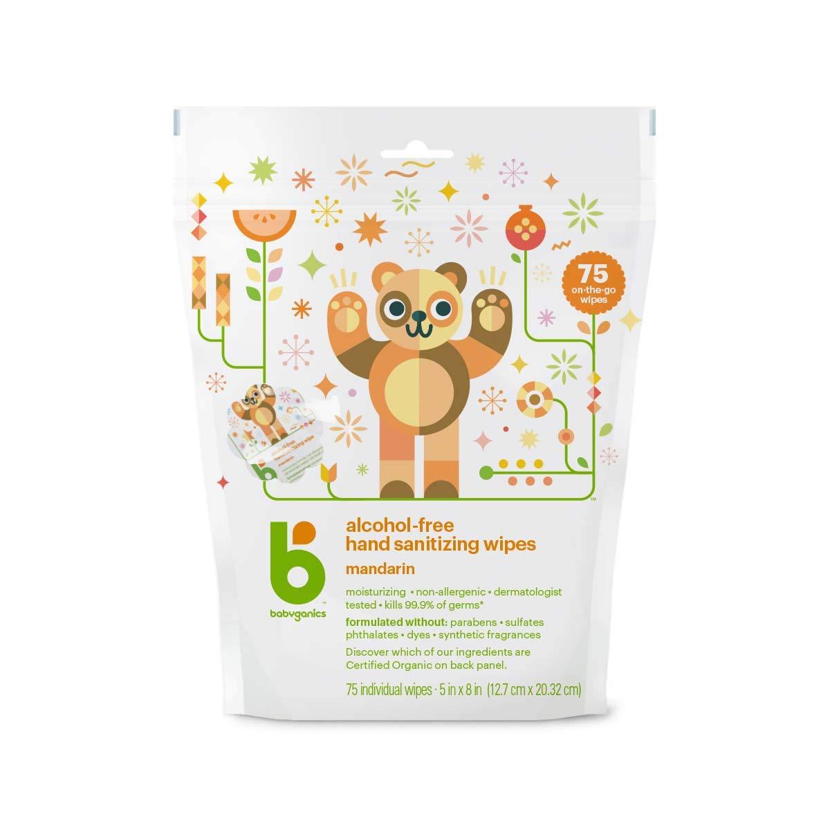 Babyganics Hand Sanitizing 75 Individual Packet Wipes (Pack of 2)
