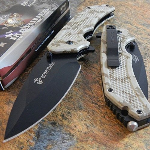 (New USMC Marines Spring Assisted Opening Digital CAMO Tactical Rescue Pocket Eco'Gift LIMITED EDITION Knife with Sharp Blade)