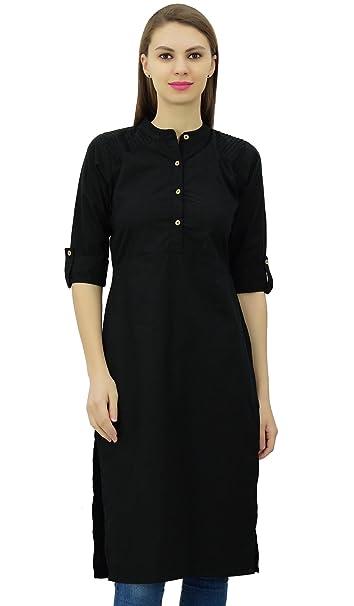 14c32056b6 Phagun Cotton Plain Kurti Tunic Mandarin Collar Ethnic Casual Kurta Blouse  at Amazon Women's Clothing store: