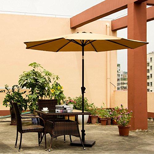 Ollieroo Patio Umbrella Tilt Beige Aluminum 9FT Outdoor Market Umbrella  With Crank 8 Steel Ribs And Wind Vent 100% Polyester