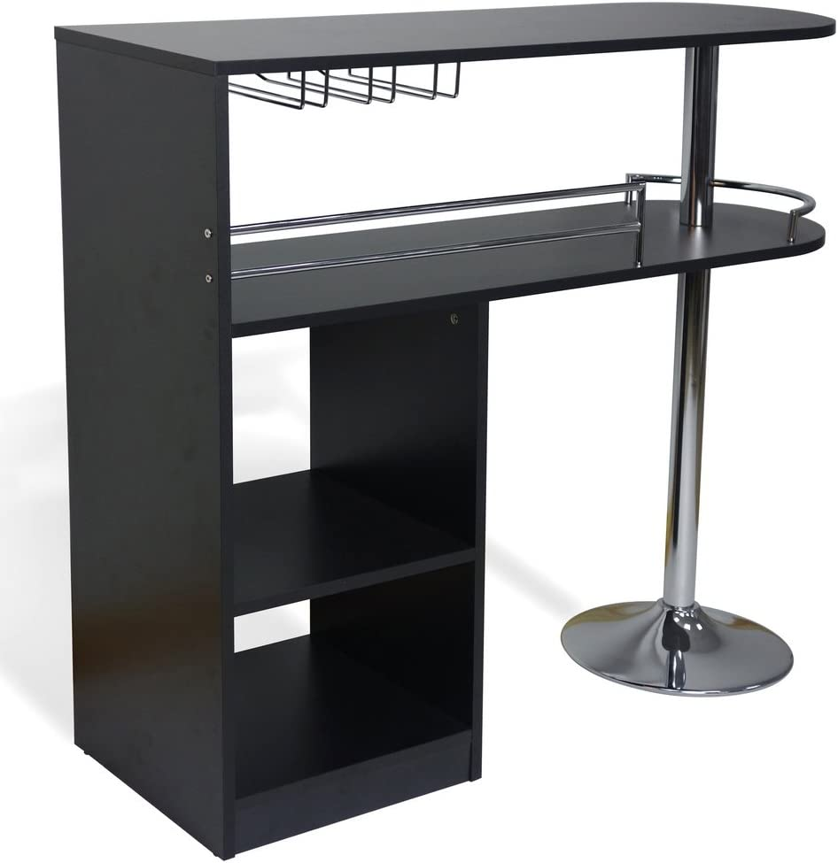 Homegear Kitchen Cocktail Bar Table – Black