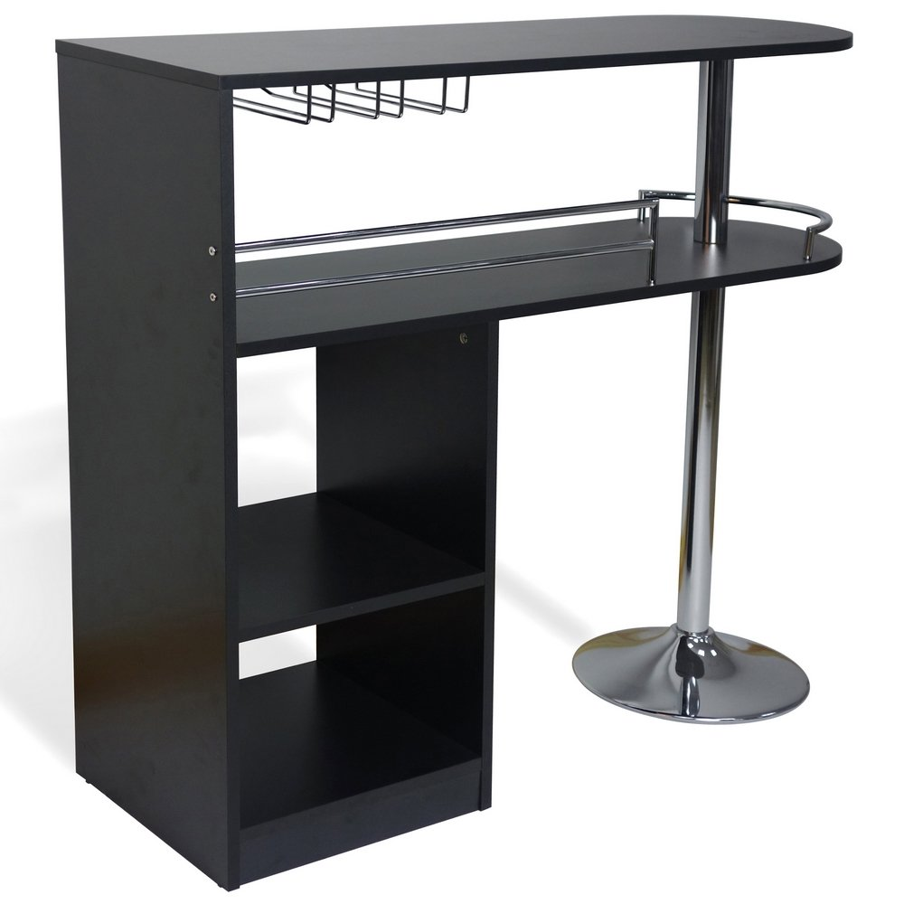 Homegear Kitchen Cocktail Bar Table - Black by Homegear