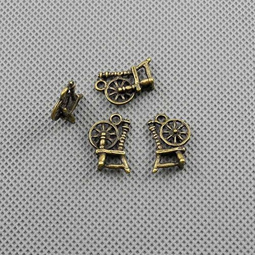 - 250 PCS Jewelry Making Charms Findings Supply Supplies Crafting Lots Bulk Wholesale Antique Bronze Tone Plated 36847 Antique Spinning Wheel